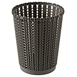 bfeem Papierkorb, Kreative Ausgehöhlten Papierkorb Runde Ungedeckten Mülleimer Imitiert Rattan Weberei Mülleimer für Hause/Büro (dunkelgrau)