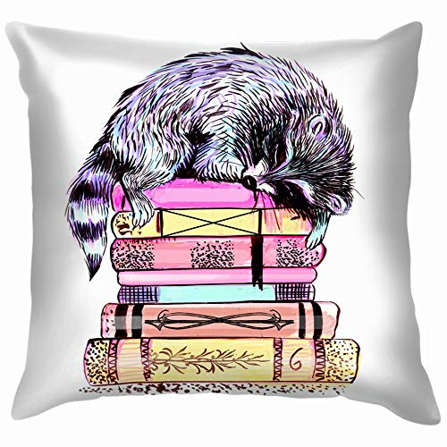 Funny&shirt Raccoon Sleeping On Books Drawing Markers Animals Wildlife Animal Cotton Linen Home Decorative Throw Pillow Case Cushion Cover for Sofa Couch 18X18 Inch