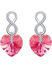 d7ec7491f2c8 EVER FAITH® 925 Plata Esterlina CZ Figura 8 Pendientes de Corazón Infinity  con Cristales de