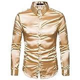 Hemden Herren LUCKYCAT 2018 Fashion Trend Langarm Einfarbig Glänzende Hemden Slim Fit Hemden Modern (Gold, XL)