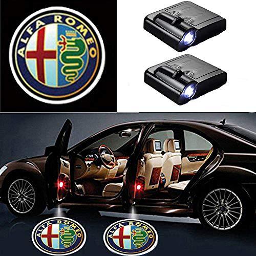 MIVISO 2 pezzi Logo auto Proiettore Ghost Shadow Emblems Luci per auto senza fili Lampada laser a LED Benvenuto Luce di cortesia