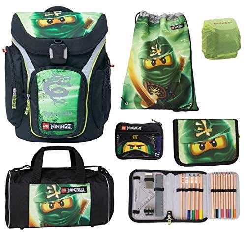Familando Lego Schulranzen-Set Ninjago Lloyd Explorer 6 TLG. mit Federmappe gefüllt, Sporttasche und Regenschutz Spinjitzu -