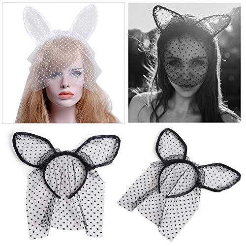 Waroomss Katzenohren Stirnband mit Schleier, Halloween Stirnband Spitze Sexy Polka Dots Mesh Urlaub Party Headwear für Frauen, Kostüm Gefälligkeiten Zubehör, Schwarz und Weiß