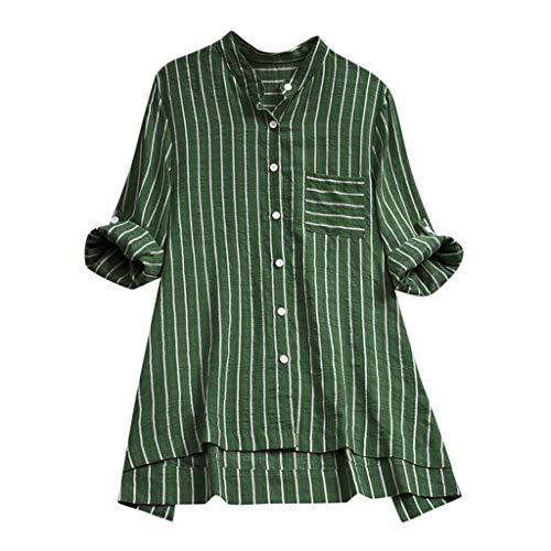 CAOQAO Damen Lässig Plus Größe Vertikal Streifen Lose Leinen Knopf Tunika Hemd Bluse(XXXXL,Grün)