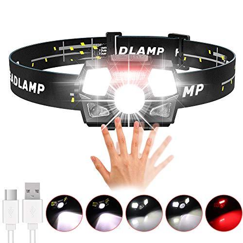 Stirnlampe LED USB Aufladbar mit Rotlicht, Karrong Sensor Wasserdicht Kopflampe, Leicht Stirnlampen, 6 Modi für Outdoor Kinder Sport Joggen Laufen Angeln