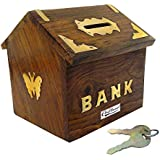 Craftland Wooden Hut Shaped Money/Piggy Bank, Money Box, Coin Box With Brass Work For Kids/Children.(with Lock)