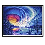 5D DIY Diamond Painting Kit Full Sky Lake Aurora Borealis Painting Cross Stitch Diamond Wall Stickers Home Decoration...