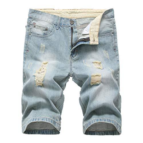 f79015b243848 ACEBABY Pantalones Cortos de Verano para Hombre Pantalones Cortos Hommes  Jean Bermudas Skate Board Harem Fashion Jean Shredded Moda Cinco Puntos ...