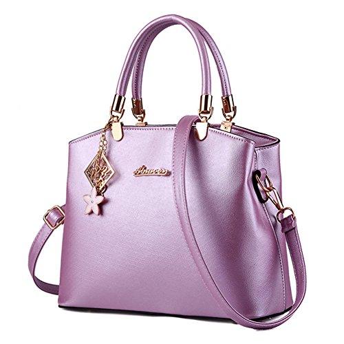 fanhappygo Fashion Retro Leder gesteppte Laser Abendtaschen Damen Schulterbeutel Umhängetaschen Violett