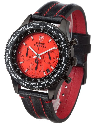 DETOMASO Firenze Men's Quartz Watch with Red Dial Chronograph Display and Black Leather Bracelet Sl1624C-Rd