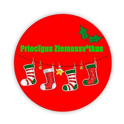 Frohe Weihnachten in lettisch KOMPAKT Spiegel bedruckt Bespoke entworfen 58mm Rund Neuheit Make Up Spiegel ideal für Ihre Handtasche. Geschenke Kaboom (Geschenk-karte E-mail-lieferung)