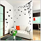 Walplus 3D farfalla Vine fiori casa ufficio decorazione da parete adesivi decalcomanie carta da parati