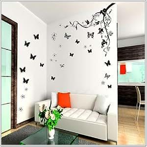 walplus sticker mural papillons 3d et branche fleurie cuisine maison. Black Bedroom Furniture Sets. Home Design Ideas