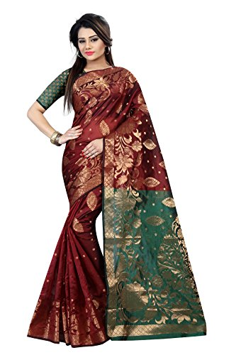 Silk Zone Maroon color silk saree with attached blouse piece_New exclusive silk...
