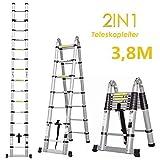 bxzcb Scaletta-staffa-staffa 3.8M Scaletta pieghevole in alluminio e scala telescopica con base estesa Scaletta in alluminio Scaletta di piolo Scaletta di estensione Scaletta pieghevole (3,8M con sup