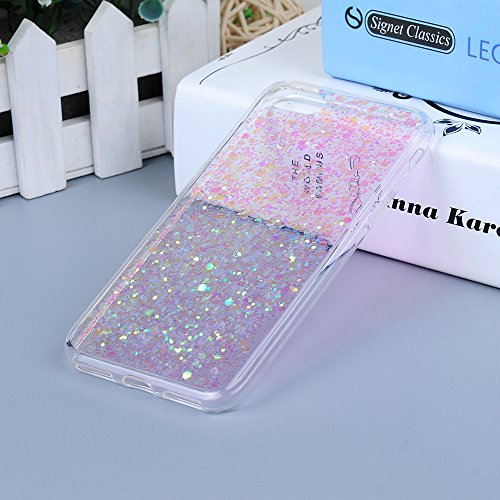 iPhone 7 Custodia Gomma Silicone TPU Gel Con Bling Glitter Strass Interno Shell Intarsio - MAXFE.CO Case Cover Shock-Absorption Bumper Morbido Protettiva per Cover iPhone 7 4.7 - blu rosa