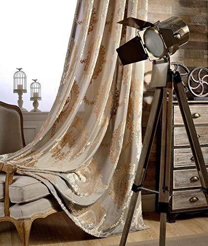 adaada 2er-Set Luxus vorhänge Europäische Jacquard vorhänge für Wohnzimmer (Braun, 245 * 140cm)