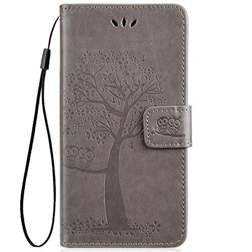 JAWSEU Compatible avec Samsung Galaxy A40 Coque Portefeuille PU Étui Cuir à Rabat Magnétique Lovely Belle Chouette et Arbre Ultra Mince Stand Leather PU Flip Wallet Case,Girs