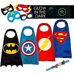 LAEGENDARY Halloween Disfraz de Superhéroes para Niño - Regalos de cumpleaños para niña - 4 Capas y Máscaras - Juguetes para Niños y Niñas - Logo Brillante de Capitán América
