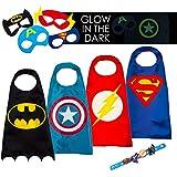 LAEGENDARY Disfraces de Superhéroes para Niños - 4 Capas y Máscaras - Disfraces de Halloween - Logo Brillante de Capitán América - Juguetes para Niños y Niñas