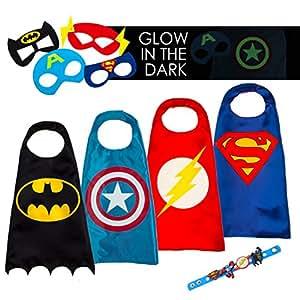 LAEGENDARY Costumi da Supereroi per Bambini - Regali di compleanno - Costumi di carnevale - 4 Mantelli e Maschere - Logo di Capitan America Visibile al Buio – Giocattoli per Bambini e Bambine