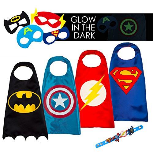en Kostüme für Kinder - 4 Capes und Masken - Karneval und Geburtstagsfeier Spielzeug - Im Dunkeln Leuchtendes Captain America Logo - Spielsachen für Jungen - Karneval Fasching Costume (Batman Robin Kostüme Kinder)