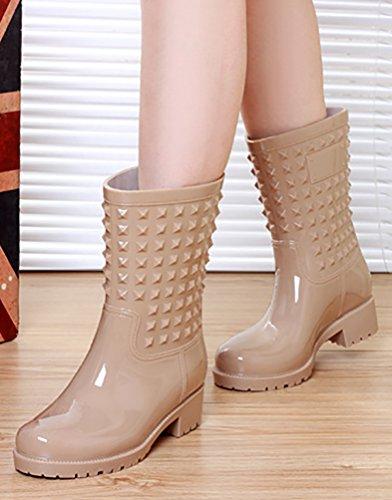 LvRao Damen Gummistiefel Wasserdicht Stiefel Hohe Stiefeletten Gummistiefel Lange Boots Beige