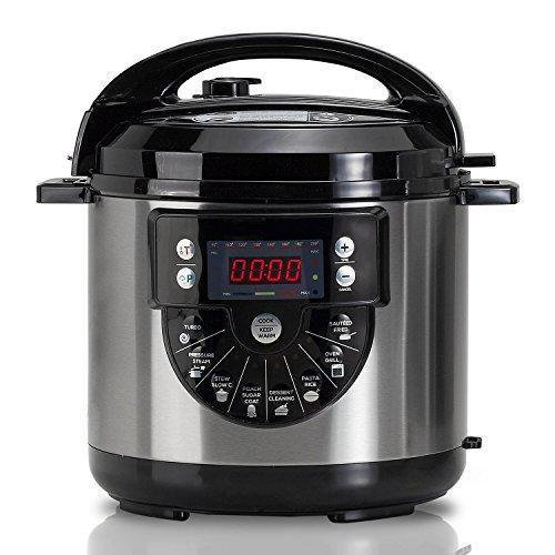 Novohogar Olla programable 1000W con Voz, Capacidad de 6 litros, 15 menús de cocción y Accesorio para freír