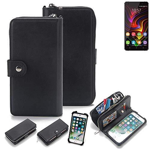 K-S-Trade 2in1 Handyhülle für Oukitel C5 Pro Schutzhülle & Portemonnee Schutzhülle Tasche Handytasche Case Etui Geldbörse Wallet Bookstyle Hülle schwarz (1x)