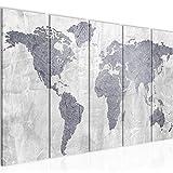 Bilder Weltkarte World map Wandbild 150 x 60 cm Vlies - Leinwand Bild XXL Format Wandbilder Wohnzimmer Wohnung Deko Kunstdrucke Grau 5 Teilig - MADE IN GERMANY - Fertig zum Aufhängen 104356c