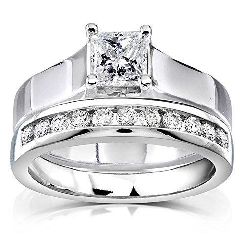 Kobelli  -  14 Kt  Weißgold Prinzessschliff Rundschliff   Feines Weiß/Top Wesselton (G) - Weiß/Wesselton (H) Weißer Diamant - Tiffany Engagement Diamant-ring