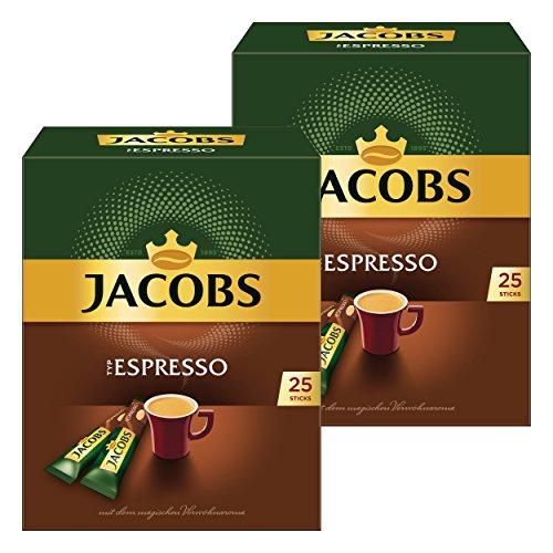 Jacobs Typ Espresso, 2er Pack, löslicher Kaffee, Instantkaffee, Instant Kaffee, je 25 Einzelportionen