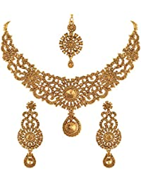 ddb13c939e2cd9 Vatsalya Creation Traditional Diamond Necklace Set Gold Plated For Women's