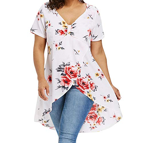 VJGOAL Damen Top, Übergröße Damen Pullover Frauen Blumen Kurze Ärmel und Lange Unregelmäßigkeiten Beiläufig T-Shirt Langarm Tops Bluse(Weiß,42)