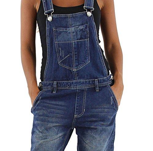 si moda Damen Jeans Hose Baggy Boyfriend Latzhose Latzjeans Jumpsuit Overall Hüftjeans, Hosengröße:42