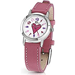 "Jo for Girls ""With Love"" Heart Analogue Quartz Watch with Pink Leather Strap"