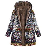 LILICAT® Womens Winter Warm Outwear con Estampado Floral Bolsillos con Capucha Abrigos de Gran tamaño Vintage