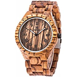 Uwood Sandalwood Natural Wooden Watch Mens Quartz Watches Japanese Quartz Movement Perfect as a Christmas Present Yellow
