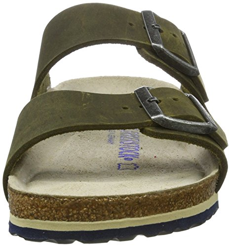 Birkenstock Unisex-Erwachsene Arizona Leder Softfootbed Pantoletten Grün (Artic Old Jade)
