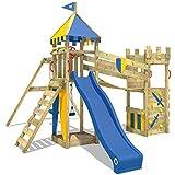 WICKEY Ritterburg Smart Hero Spielturm Kletterturm mit Schaukel und Rutsche, Wackelbrücke, Sandkasten und Kletterwand
