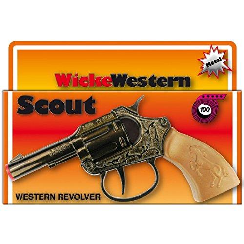 12c2881e2323 NET TOYS Pistolet scout 100 coups 135 mm noir-marron arme jouet revolver  western Wild