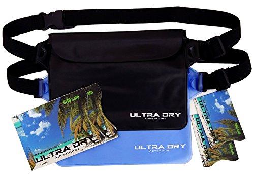 Bolsas impermeables con riñonera ajustable ajustable y etiqueta contra robo RFID, mantienen tu teléfono y objetos de valor secos y seguros, perfecto para navegar, natación, submarinismo, kayak., color azul y negro, tamaño 2