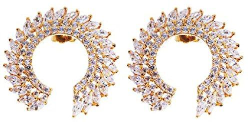 Beydodo Vergoldet Überzug Ohrringe Damen (Stud-Ohrring) Runde Form Cubic Zirconia Oval Kristall (Eishockey Kostüme Zombie)