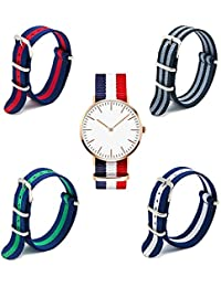 Naivo Quartz Stainless Steel and Nylon WatchMulti Color (Model: 1)