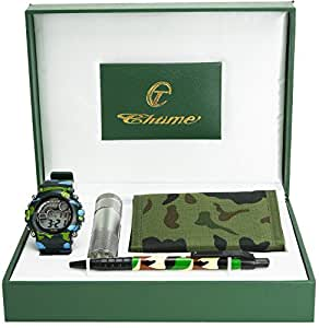 coffret cadeau enfant ado military army portefeuille lampe led torche stylo noir vert amazon. Black Bedroom Furniture Sets. Home Design Ideas