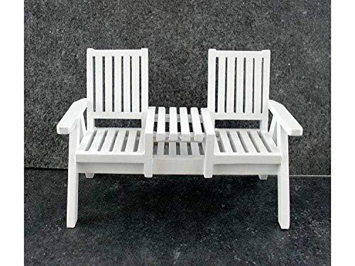 Melody Jane Puppenhaus Miniatur Möbel Weiß Holz Rasen Loveseat Twin Stuhl
