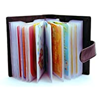 STARHIDE Soft Genuine Leather Compact Credit Debit Card Holder Case with Removable Plastic Sleeves 210