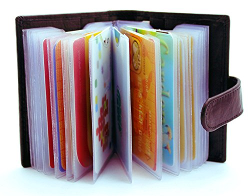 STARHIDE Soft Genuine Leather Credit Card Holder Wallet with Removable Plastic Sleeves - 210