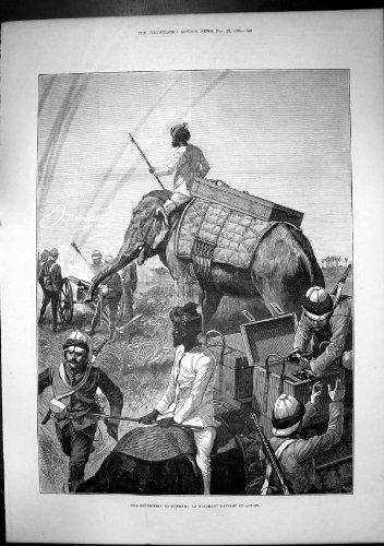 Expedition Burmah-Elefant-Batterie In Vorgang 1885