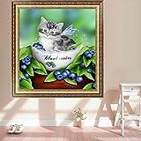 """Adarl 5d bricolage Diamant Peinture Strass Kits de broderie de cristaux de photos d'arts, Crafts & Couture point de croix Chat 13.78""""*13.78"""" With Blueberry"""